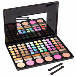 Wholesale Wholesale Mirror Brush Sets - 78 Colors Eyeshadow Palette Makeup Powder Cosmetic Brush Kit Box With Mirror Women Beauty Tools Set free shipping DHL 60222