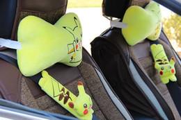 Wholesale Cartoon Headrest - Cartoon Pikachu Poke cute car headrest, seat belt cover, bone pillow, automobile neck pillow,Car Decoration
