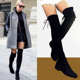Wholesale Skull Knee Boots - New winter fashion in Europe and the knee-high boots with flat skull patch sheep leather boots stretch boots