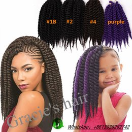 Wholesale Afro Kinky Hair Braid - Synthetic hair bulks Havana Twist Crochet Braids Synthetic hair extensions 12inch Afro kinky twist freetress crochet braids hair extensions
