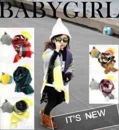 Wholesale Kids Fashion Scarves - Baby Plaid Scarves 100*100CM Cashmere Winter Warm Soft Scarves Kids Girls Tartan Scarf Wraps Winter Shawl Ring OOA2983