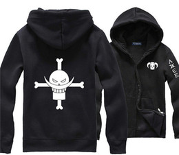 Wholesale Pirates Shirts - Wholesale-Japanese Anime One Piece White Beard Pirate Portgas D Ace Black Hoodie Street Wear Print Clothing Men Comics Hoody Sweat Shirt