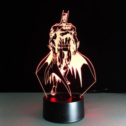 Wholesale Egg Lamps - Batman 3D Optical Illusion Lamp Night Light DC 5V USB AA Battery Wholesale Dropshipping Free Shipping Retail Box