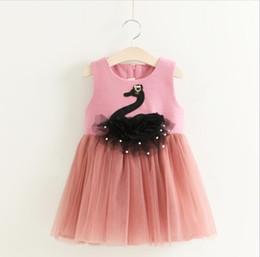 Wholesale Baby Swan Dress - Girls Lace Swan Dresses Kids Clothing Autumn 2017 Baby Girl Princess tutu Dress Kids Girls Cartoon Sleeveless Dress Girls Dresses