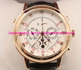Wholesale Moon Dial - New arrived Automatic movement High quality sapphire glass white Duo dial leather strap wristwatch Sky Moon Tourbillon