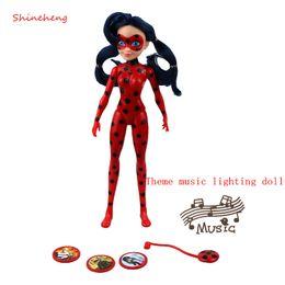 Wholesale Ladybug Lights - New Arrival 27cm Miraculous Ladybug Theme Music Lighting Action Figure Toy Joint Movement BJD Fashion Doll Girl Birthday Gift
