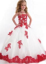 Atacado-branco de tule de renda vermelha apliques vestido de baile vestidos da menina de flor lantejoulas beading até o chão longo vestidos de comunhão pageant vestidos de
