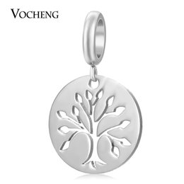 Wholesale Circle Life Tree - Endless Stainless Steel Charms Dangle Jewelry for Sheepskin Bracelet Tree of Life DIY Accessories VC-389