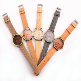 Wholesale Wooden Buckle - Retail unisex mens womens wooden watches 2017 fashion watch with colorful leather strap watch wood free shipping