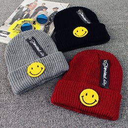 Wholesale Korean Autumn Street Fashion - 2016 autumn and winter wool cap smiley female Korean Harajuku paternity hat knitted warm hat Woolen Warm Hedging Caps