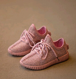 Wholesale White Baby Canvas Shoes - 2016 New Kids kanye west style Running Shoes Snakers Kanye West boost black grey Baby Fashion sport Running Shoes Size:26-36 XMAS gift