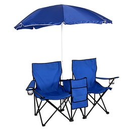 Wholesale Cooling Table - Picnic Double Folding Chair Umbrella Table Cooler Fold Up Beach Camping Chair