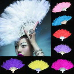 Wholesale Burlesque Fans Feather Dance - 9 Colors Fluffy Lady Burlesque Wedding Hand Fancy Dress Costume Dance Feather Fan Party Gift