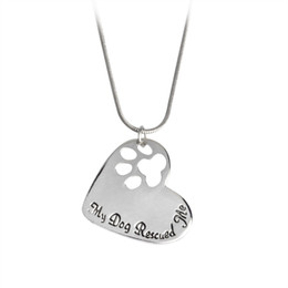 "Wholesale Paws Heart - My Dog Rescued Me"" Letters Hollowed Dog Paw Claw Heart Shaped Pendant Necklace Silver Chain Animal Jewelry Love Gift For Friend"