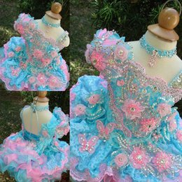 Wholesale Cupcake Pageant Dresses Gold - Sparkle Little Girls Glitz Pageant Dresses with Handmade Flowers Crystal Formal Pink and Sky Blue Kids Child Angels Cupcake Ball Gowns Cheap