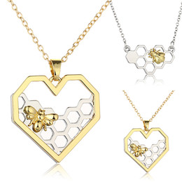 Wholesale Bee Slides - 2017 Women Necklace Heart Gold Silver Color Honeycomb Bee Animal Pendant 45cm Jewelry Party Prom Gift