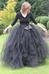 Wholesale Ladies Long Tutu Skirts - Ball Gown Long Women Lady Girls Skirts For Women Ruffled Tulle Long Skirt Adult Women Tutu Skirts Lady Formal Skirts With Sashes Ribbon