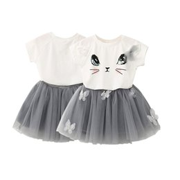Wholesale Cat Zebra - New Kids Girls Cat T-Shirts+Net Veil Tutu Skirt Short Sleeve Cartoon Kitten Printed Clothes Set