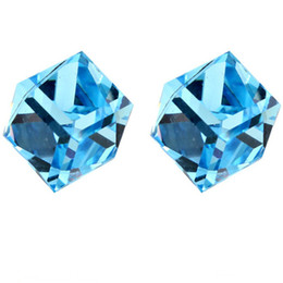 Wholesale Cube Element - Fashion Earrings Charm Jewelry Made With Swarovski Elements Austrian Crystal Stud Earrings Women Cube White Gold Plated 5131