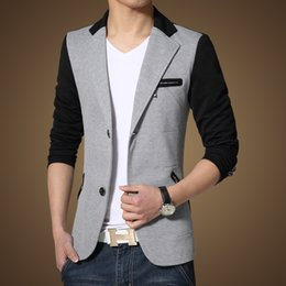 Wholesale Han Short Sleeve Suit - Spring han edition teenagers and leisure men splicing coat the west big yards small suit male English cultivate one's morality