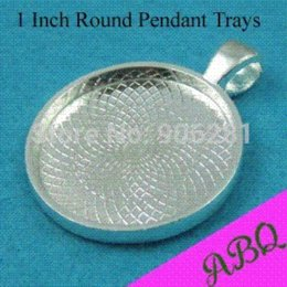 Wholesale Antique Round Blank - 1'' Round Glass Cabochon Settings, 25mm Round Pendant Tray, Antique Silver Blank Bezel Setting Tray pendant set