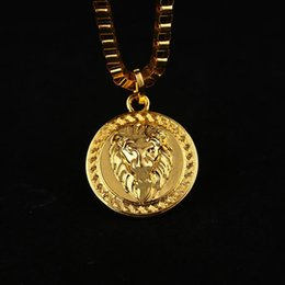 Wholesale 18k Mens Rose Gold Necklace - HOT 18K Gold Plated Lion Medallion Head pendants Hiphop franco long necklaces gold Chain for mens bijouterie High Quality