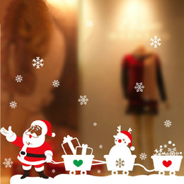 Wholesale Christmas Tree For Wall - happy new year merry Christmas tree Wall Stick Santa Claus Christmas Snowman Bear Removable Wall Sticker For Show Window Decoration