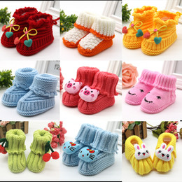 Wholesale Crochet Baby Booties For Girls - baby booties infant girl shoes baby boy shoes hand knitting yarn for new born baby for Autumn winter 20 colors