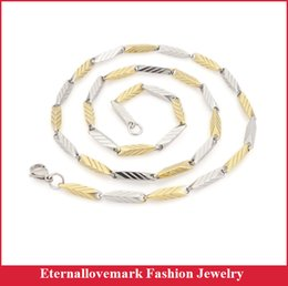 Wholesale Two Tone Gold Necklace Men - Latest design arrow stripes stainless steel chain necklace fashion gold silver two tone jewelry for men and women