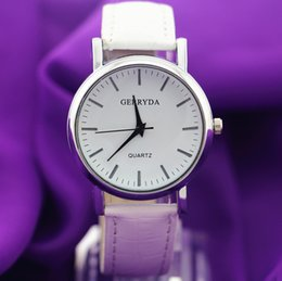 Wholesale Pvc Shipping Tags - Free shipping!Hot selling!PVC leather band,silver plating round case,simple dial,Gerryda fashion unisex quartz battery leather watches