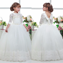Wholesale Most Yellow - Most Lovely Three Quater Sleeves Special Occasion Gown Flower Girl Dresses Girls Pageant Dresses First Communion Dresses Holy Dresses