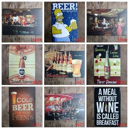 Wholesale Lemon Decorations - drink free cold beer lemon lime classic Coffee Shop Bar Restaurant Wall Art decoration Bar Metal Paintings 20x30cm tin sign 10pcs lot
