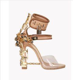 Wholesale Nude Rhinestone Shoes - 2016 New Ankle Wrap Rhinestone High Heel Shoes Woman Abnormal Jeweled heels Gladiator Sandals Women