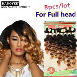 Wholesale Virgin Hair Usa - Kadoyee 100% Brazilian Human virgin remy hair 8pcs lot for full head ombre color deep loose wave hair extension healthy thick end uk usa