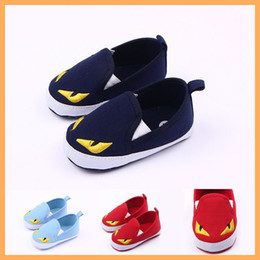 Wholesale Girls New Design Shoes - New Canvas Baby Shoes in Bulk Eyes Design Toddler Shoes for Girls And Boy Casual Shoes Red Blue Navy