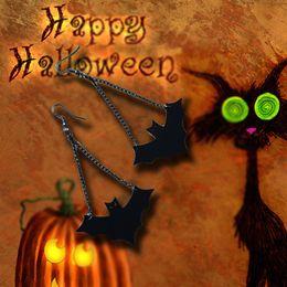 Wholesale Vampire Bats - 2017 New Arrival Woman Earring One Pair Black Vampire Hook Black PU Leather Black Bat Dangle Chain Gothic Halloween Drop Earring Retro