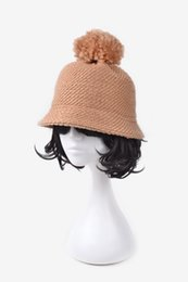 Wholesale Korean Style Hats For Women - Wholesale-The Korean Style Autumn And Winter Female Thick Knitted Bucket Hats Chapeu Women Girl's Lovely Bucket Hat for winter