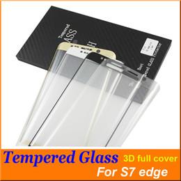 S7 Edge S6 Edge Pantalla 3D Protector de vidrio templado Cubierta completa Cristal curvo Dureza 9H Para galaxias coloridas + caja de madera Caja de venta al por menor libre DHL 30 desde fabricantes