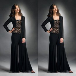 Wholesale Sexy Black Pant Suits - Fashion Mother of Bride Pant Suit 2016 Sexy Lace Applique Bateau Neck Long Sleeve Jacket Black Chiffon 3-Pieces Mother of the Bride Dresses