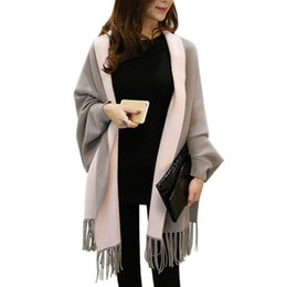 Wholesale Blue Cashmere Coat - 2016 New Women Poncho Cardigans Autumn Winter Women Overwear Coat Oversized Knitted Cashmere Capes Sweater With Tassel Scarf WKS0037