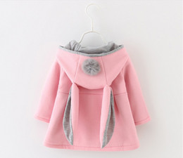 Wholesale Kids Red Coats - Retail New Autumn Winter Baby Girls Rabbit Ears Hooded Princess Jacket Coats Infant Girl Cotton Outwear Cute Kids Jackets Christmas Gifts