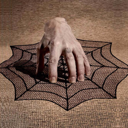Wholesale Lace Table Cloth Wholesale - NEW 30inch 40inch Round Halloween Table cloth Black Spider Web Lace Mantle for Halloween Party Decoraiton Background Decoration