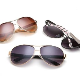 Wholesale Black Metal Fans - International explosion classic British fashion toad Brand Fan glasses Metal Sunglasses for men and women sunglasses BY 8093