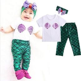 Wholesale Baby Shells - 2016 New Hot Sale Baby Girls Mermaid Swim Sets 3pcs Shell Tops T-shirt + Mermaid Leggings Pants + ins Headband Outfits Set Baby Girl 0-24M