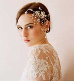 Wholesale Hand Accessories For Girls - Hand-made Gold Color Bohemia Wedding Headpiece for Brides Crystals Beaded Girls Party Tiara Crown Lady Bridal Accessory Hair Fascinator
