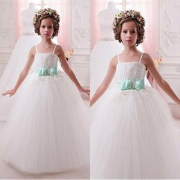 Wholesale Lovely Spaghetti Strap Ball Gown - Lovely Spaghetti Straps Little White Flower Girl Dresses Lace Appliques Tulle Long Kids Formal Wear with Sash Girls Birthday Christmas Gowns