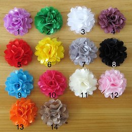 Wholesale Girls Hair Flower Headdress - 2016 High Quality Baby Girl Hair accessory headdress Chiffon Satin flowers Flat back corsage for baby headband