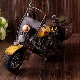 Wholesale Handmade Metal Motorcycles - creative zakka crafts handmade crafts yellow classic retro motorcycle motorbicycle model iron metal coffee bar home decor