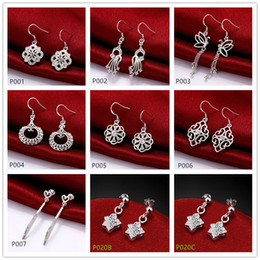Wholesale Sterling Silver Earrings Gemstones - High grade fashion women's gemstone 925 silver earring 10 pairs mixed style,cheap sterling silver Dangle Chandelier earrings GTP10