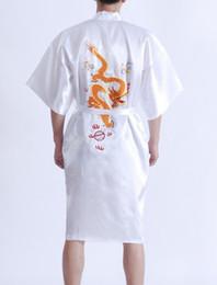 Wholesale Vintage Silk Shirt Xl - Wholesale-Hottest White Men's Silk Satin Robe Gown Chinese Traditional Embroidery Bathrobe Vintage Dragon Kimono S M L XL XXL XXXL S0018